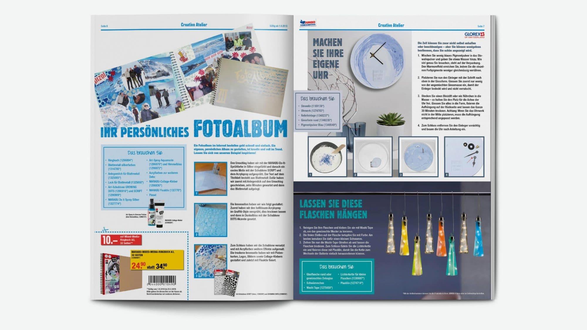 Die Broschüre liefert den JUMBO-Kunden Inspiration für ihre eigenen Bastelprojekte.