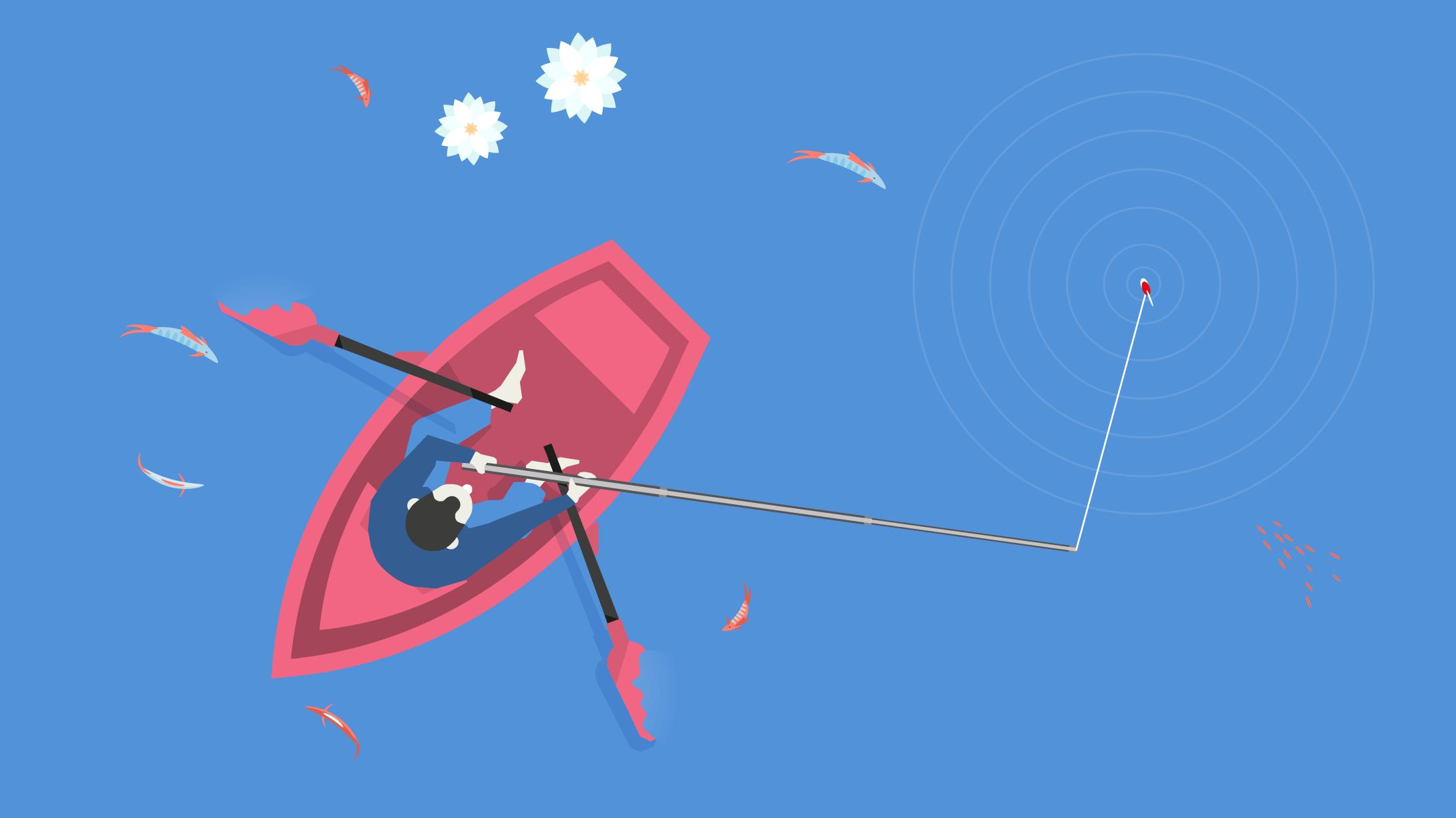 Illustration Ruderboot beim Fischen