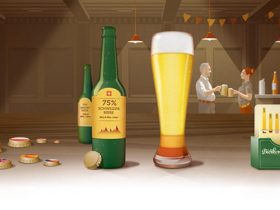 Illustration mit Bier