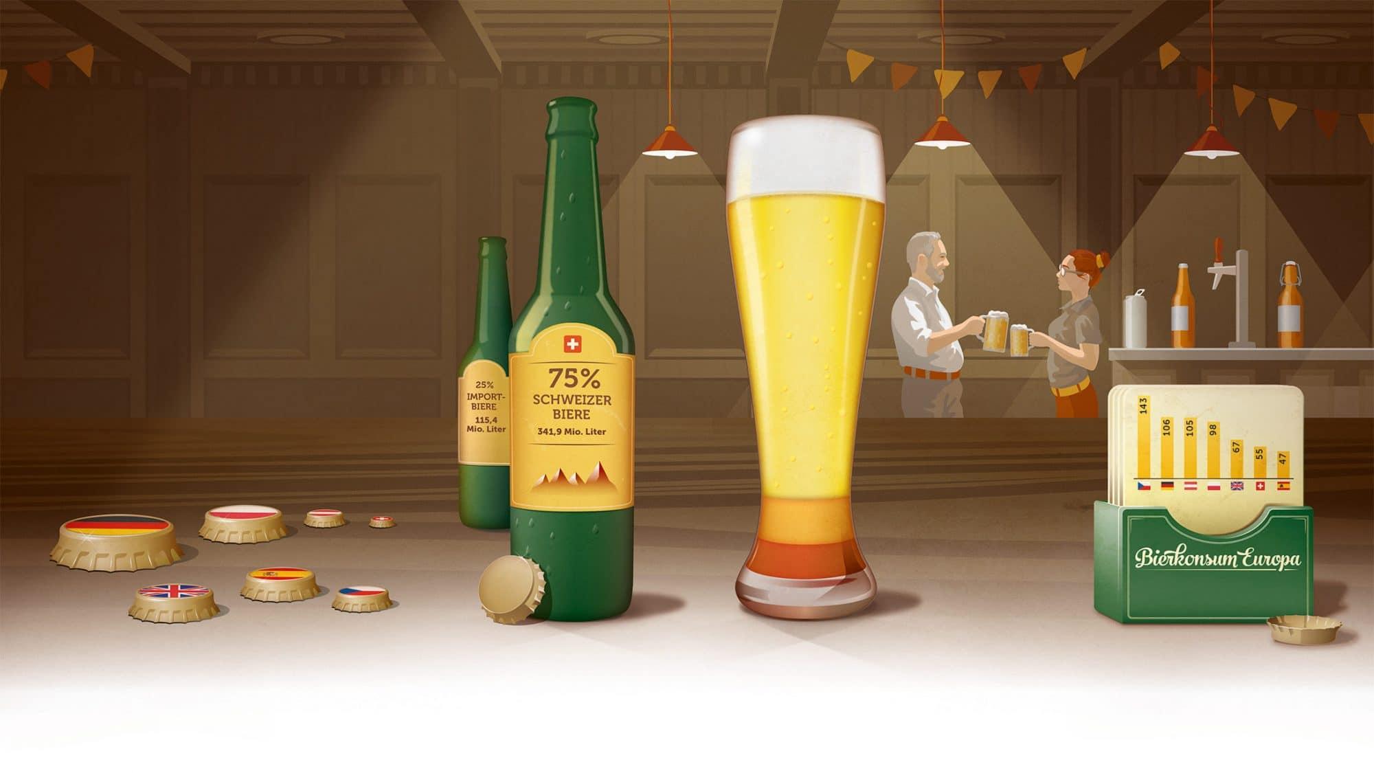 Illustration mit Bier