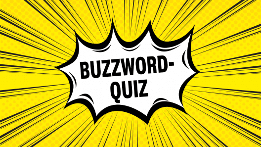 Comic-Illustration mit dem Wort Buzzword