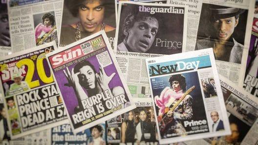 Zeitungsartikel zum Tod von Prince