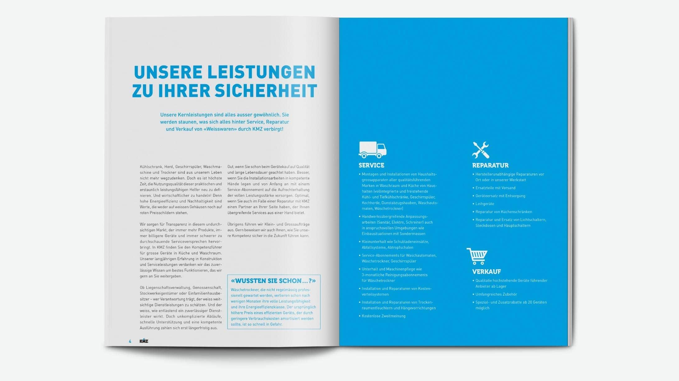 Die Broschüre deckt das ganze Leistungsspektrum von KMZ & Partner ab.